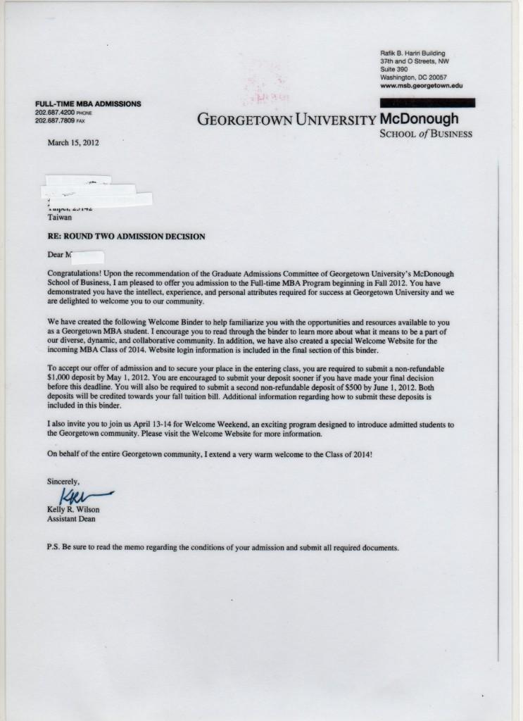 Georgetown Acceptance