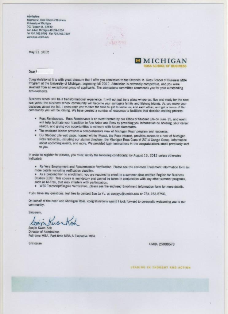 Michigan Accpetance